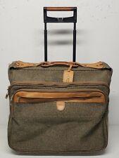 VTG Hartmann Brown Tweed Leather Trim Large Rolling Suitcase Luggage Garment Bag