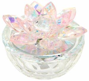 Sagebrook Home Lotus Glass Trinket Box Pink