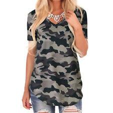 Women Summer Short Sleeve V Neck Tops Floral Camouflage T Shirt Loose Blouse
