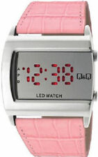 Q&Q by Citizen M101J361Y Bright Red LED Day / Date Pink Strap Women's Watch ~NEW