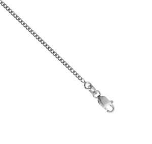 """9ct Solid White Gold Diamond Cut Curb Pendant Chain Necklace 1.45mm - 16 - 24"""""""