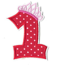 ONE - Princess - Crown - 1ST Birthday - Embroidered Iron On Applique Patch