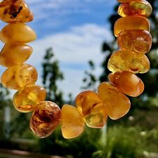 Baltic Multi Color Amber Stone Necklace 101,6gm Natural Unpolished Amber Nuggets