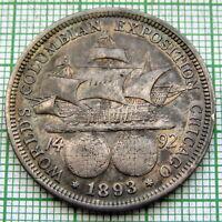 UNITED STATES 1893 1/2 DOLLAR HALFDOLLAR COLUMBIAN EXPOSITION, TONED SILVER