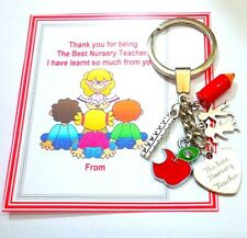 Thank you Gift for the Best Nursery Teacher On Gift card Key Ring +Charms
