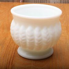 Vintage Randall White Milk Glass Fern Feather Pattern Footed Pedestal Bowl