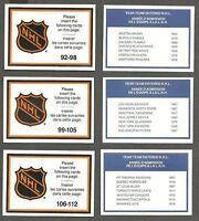 1990-91 Kraft NHL Team Mail-in Checklists Set of 3 Mint