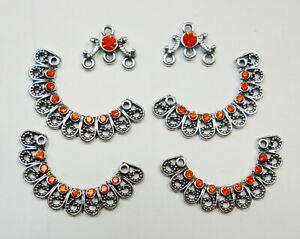 Earring - Pendant - Necklace Findings / Embellished Jewelry Connectors  6 pcs