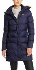 Ladies Plus Size Lined Padded Puffer Faux Fur Hood Winter Jacket Coats 18-24 Navy - Shiny Stylish LOOK Outer Wear 22