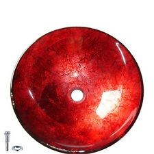 Red Tempered Glass Round Bathroom Vessel Sink Vanity Laundry Counter Top Basin