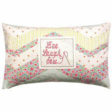 Kirsty Allsopp Sew Cushion Wilma Duck Egg Patchwork Floral Embroidered Filled