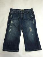 Womens BKE SABRINA Dark Wash Destroyed Capri Cropped Jeans Sz 28