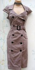 SIZE 10 40'S 50'S STYLE WIGGLE MILITARY GLAMOUR PIN-UP TAUPE DRESS # US 6 EU 38