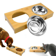 Wooden Double Dog Bowl Feeding Station Raised Cat Food Water Feeder Paw Print