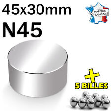 SUPER AIMANT MAGNET NEODYM N45 - 45x30mm - 200Kg + 5 MINI BILLES