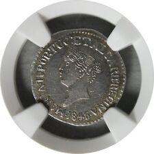 Ek // 1/2 Pardao Silver Goa 1846/5 India Portuguese Colony Maria II MS62