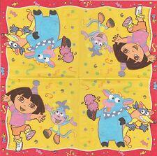 3 Serviettes en papier Dora Exploratrice Decoupage Paper Napkins Dora's party