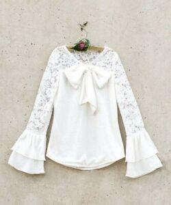 Joyfolie Girls sz 10 Cream Bowery Top holiday ruffle sleeve lace bow