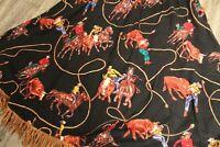 VTG CIRCLE T Western skirt black with tan fringe cowboy print size 9/10 rodeo