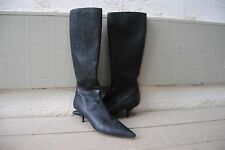 PRADA BLACK EMBROIDERED BOOTS SZ 39