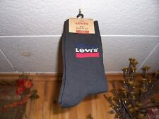 LEVIS MENS REGULAR CUT SOCKS WITH LOGO SIZE 8-12 BLACK 1 PAIR CASUAL SOFT NEW