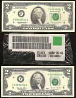 2 UNC 1995 $2 TWO DOLLAR BILLS ATLANTA BRICK PACK LABEL SET NOTE PAPER MONEY