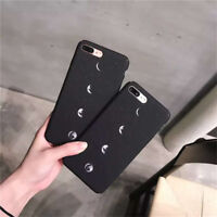 Fashion Silicone Black Space Moon Hard Phone Case Cover For iPhone 6 6S 7 Plus