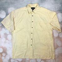 Duck Head 100% Cotton Mens Large Yellow Plaid Short Sleeve Polo Shirt
