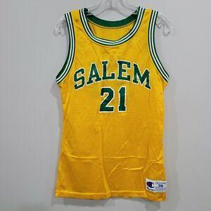 Rare Vintage 90s Champion Salem #21 Yellow Green Basketball Jersey Mens 38 M