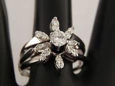 14k White Gold Flower Diamond Wedding Set Engagement Ring .80 tcw E/VVS Estate