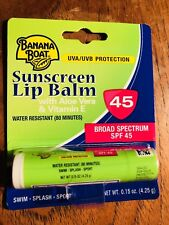BANANA BOAT SUNSCREEN LIP BALM SPF 45 with Aloe Vera & Vitamin E NEW!