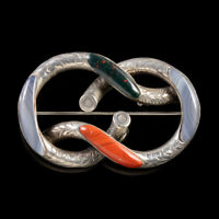 ANTIQUE VICTORIAN SCOTTISH SILVER AGATE KNOT BROOCH