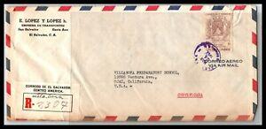 GP GOLDPATH: EL SALVADOR COVER 1962 REGISTERED LETTER AIR MAIL _CV685_P07