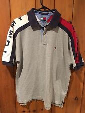 VTG Tommy Hilfiger Men's Large Gray Spellout Polo 90s Shirt GUC Casual