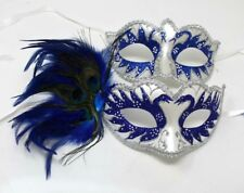 HIS N HERS PAIR OF COUPLES BLUE AND SILVER VENETIAN MASQUERADE PARTY EYE MASKS