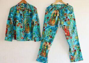XXL Size Turquoise Frida Kahlo PJ Set Night Suit Cotton Indian Bridal Night Suit