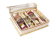 Indian Quilted Brocade Fabric 4 Section Golden Precious Bangle Jewellery Box