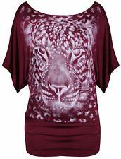 New Ladies Animal Print Batwing T-Shirt Womens Short Sleeve Top Plus Size 16-26