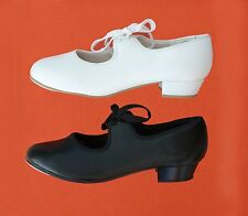 Roch Valley Tap Shoes. Low Heel, PVC. Black or White. All Sizes.
