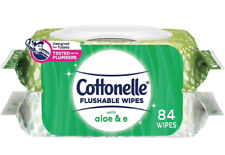 Cottonelle Flushable Wipes w/Aloe & E (2 Packages of 42 wipes)Packaging may vary