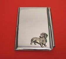 Dachshund Dog Motif on Chrome Notebook / Card Holder & Pen Christmas Gift