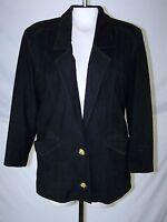 D'Linea Black Lined Genuine Leather Blazer Jacket Womens Size XS 0 2