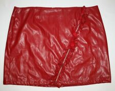 Ashley Stewart faux leather Skirt Ruffle zipper rock club wear Plus Size 32 SEXY