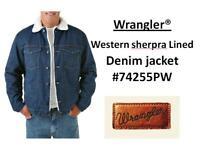MENS Wrangler Western Sherpa Lined Denim Jacket 74255PW