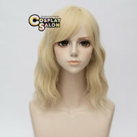 35CM Lolita Light Blonde Medium Curly Women Party Cosplay Wig Heat Resistant+Cap