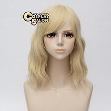 35CM Lolita Light Blonde Medium Curly Women Party Cosplay Wig Heat Resistant+Cap