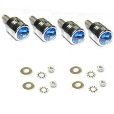 4 Chrome Billet & Blue Crystal License Plate Frame Fasteners Fits Motorcycles