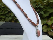 """18"""" Handmade Pink Rhodonite Necklace with Matching Oval Pendant"""