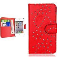 Samsung Galaxy S3 mini i8190 custodia flip case cover glitter bling rosso