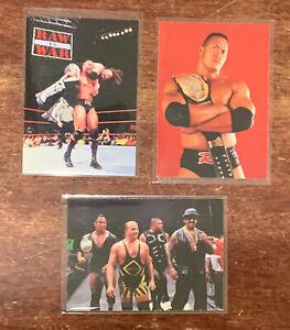 1998 Comic Images THE ROCK Rookie card - Dwayne Johnson WWF 3 card lot - Rare!!